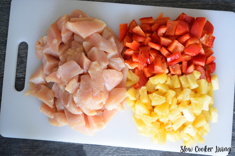 Fresh ingredients needed to make crockpot pineapple chicken.