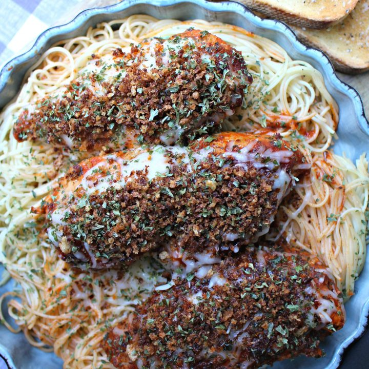 chicken parmesan finished and ready to eat.