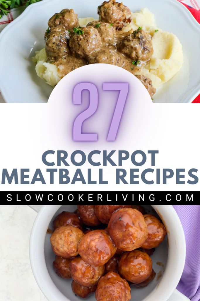 Pin showing the finished crockpot meatball recipes ready to eat.
