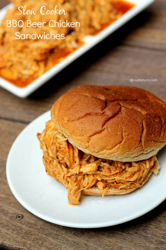 Slow Cooker Beer BBQ Chicken Sandwiches