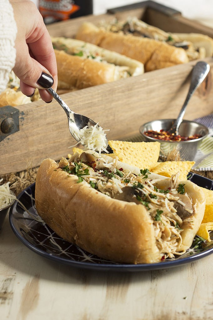 Slow Cooker Chicken Cheesesteak Sandwich
