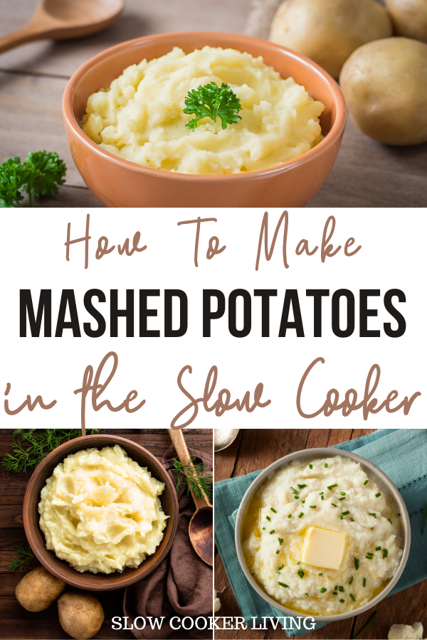 Pin showing the finished mashed potatoes made in the crockpot with title in the middle.