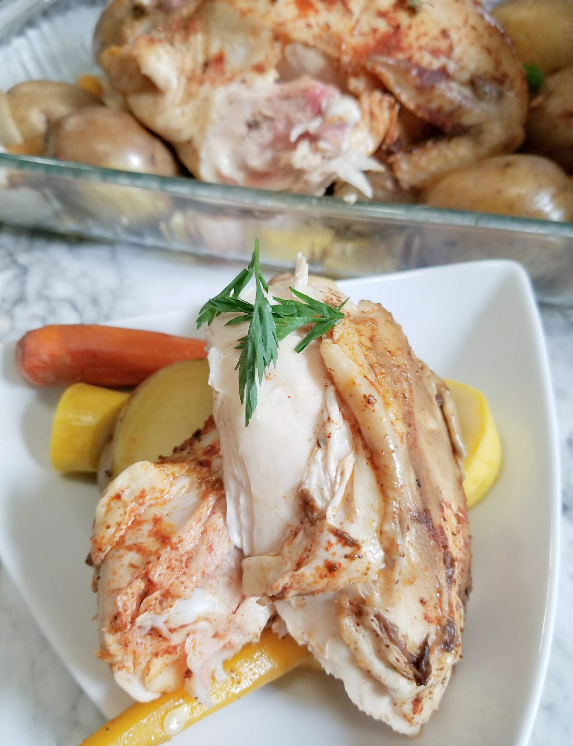featured image showing the finished Crockpot Roasted Chicken