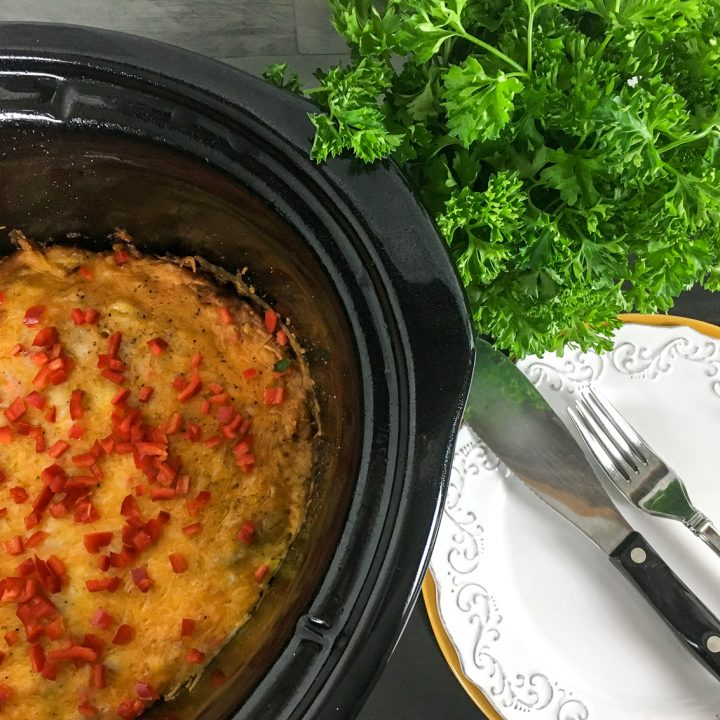 featured image showing the finished Crockpot Breakfast Casserole