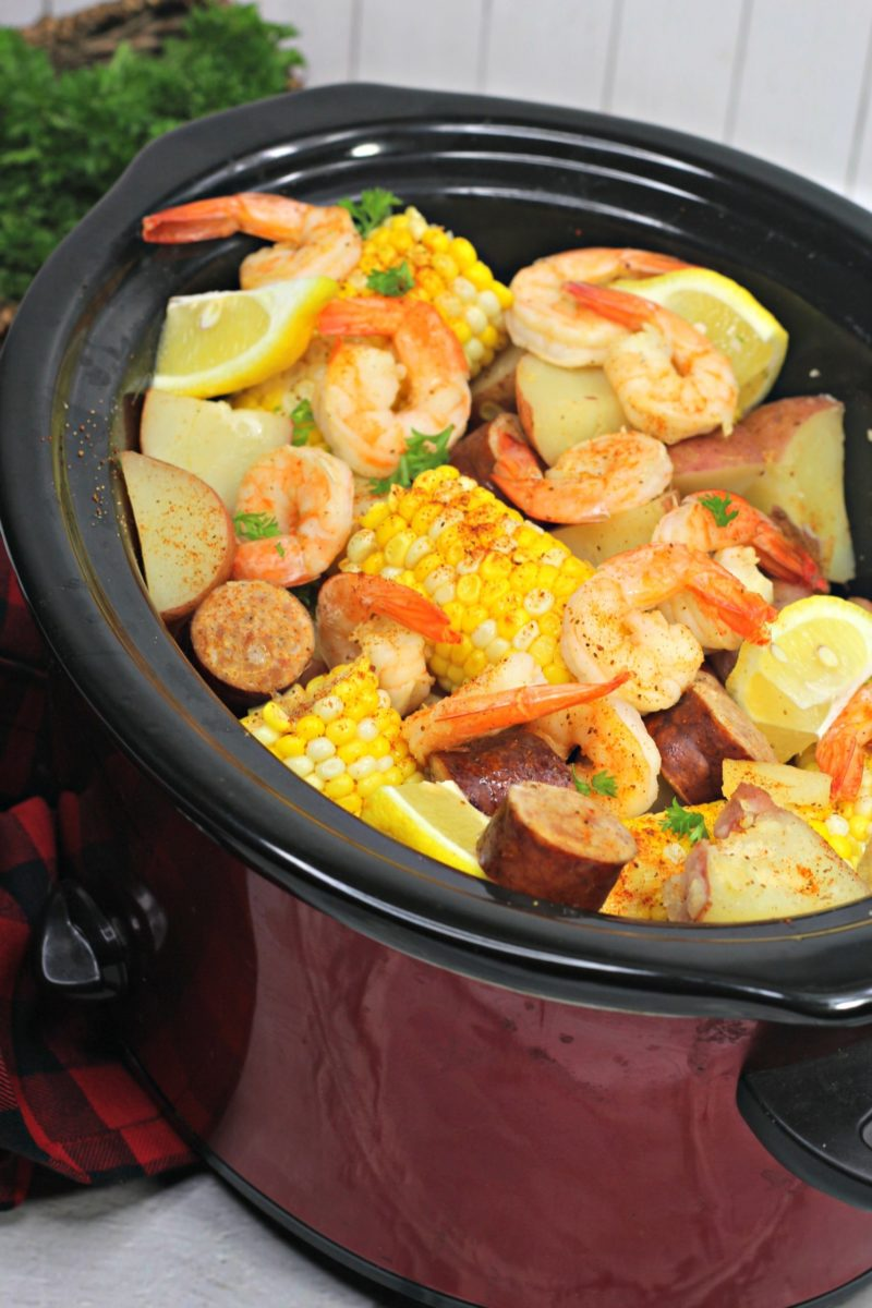 pin sized images showing the finished Recipe for Seafood Boil