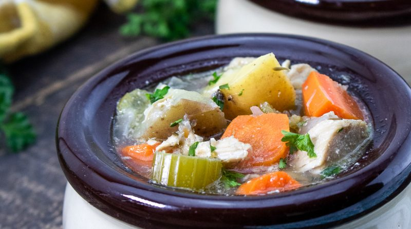 featured image showing the finished Chicken Stew in a Crockpot