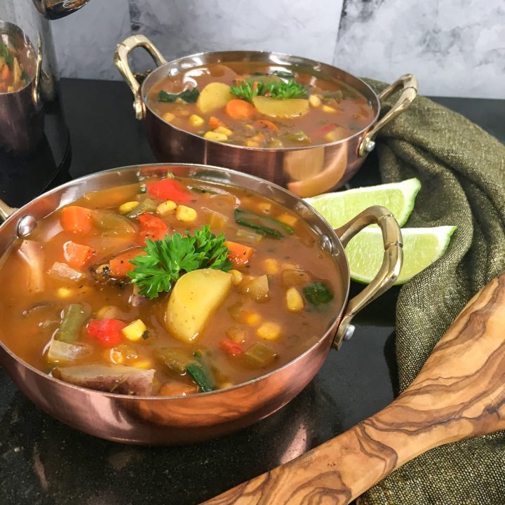 a pin style image showing the finished Crockpot Vegetable Soup