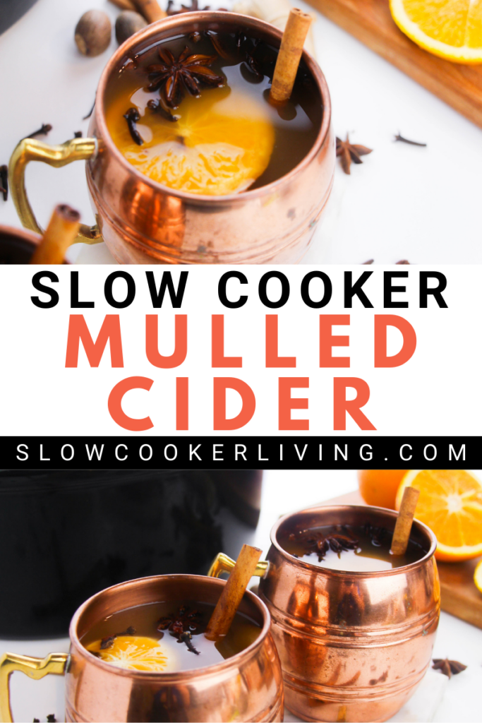 Pin showing the finished mulled cider in a crockpot with title across the middle.