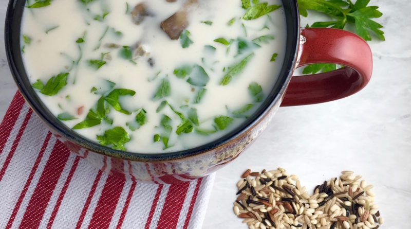 Featured image showing the finished cream of mushroom soup in a bowl ready to eat.