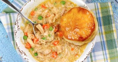 Featured image showing the finished crockpot chicken pot pie with a biscuit ready to be eaten.