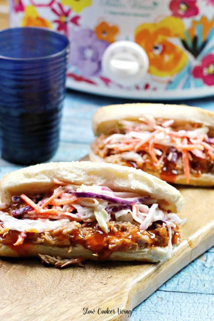 These tasty pulled pork sandwiches have coleslaw on top!