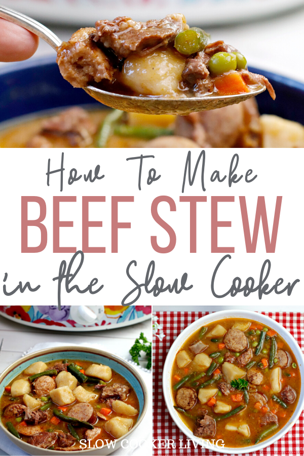 A final pin showing the title in the middle with the photos at top and bottom showing the finished beef stew ready to eat.