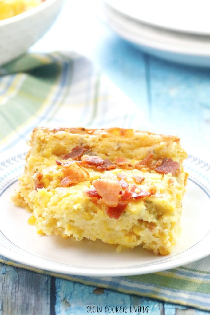 A finished slice of the bacon corn casserole ready to eat.