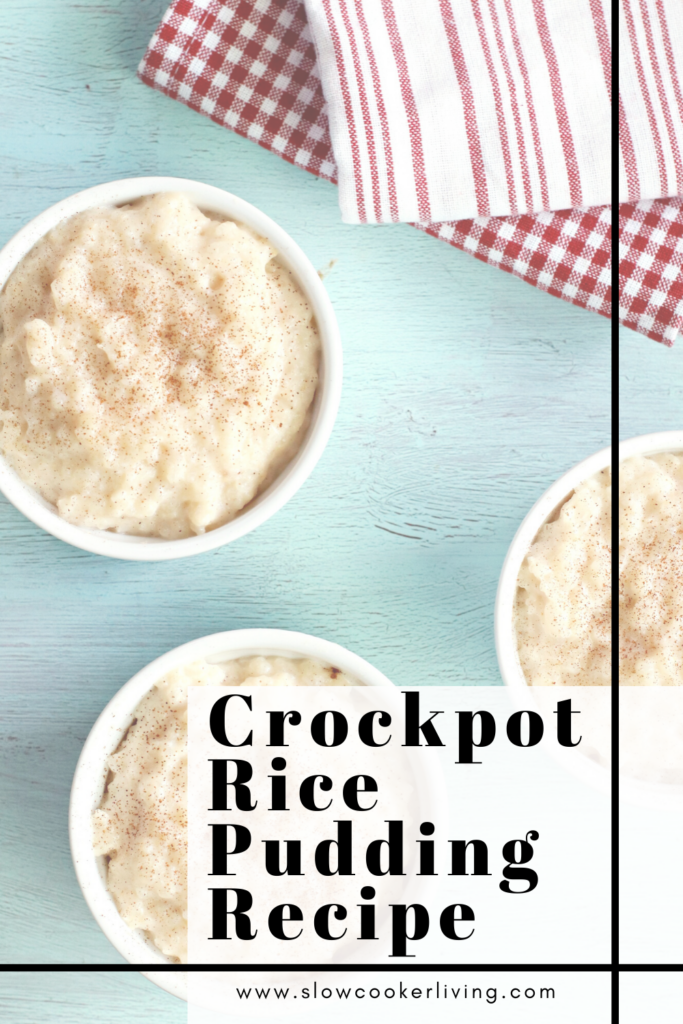 A pin showing the finished crockpot rice pudding recipe with title in the bottom corner.