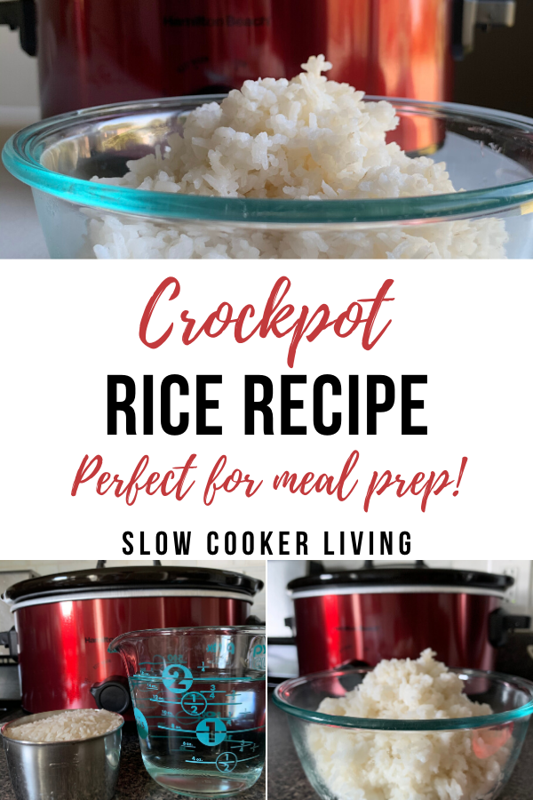 Pin showing the finished crockpot rice and the title in the middle ready to be enjoyed.