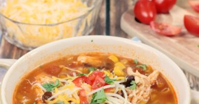 Featured image showing the finished slow cooker chicken tortilla soup ready to eat.