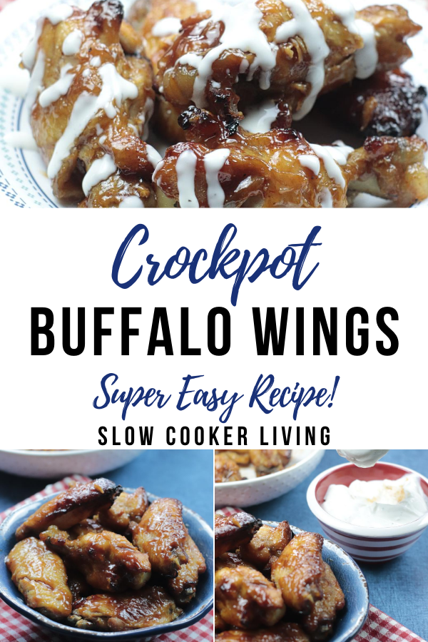 pin showing the finished buffalo wings made in the crockpot with title in the middle.
