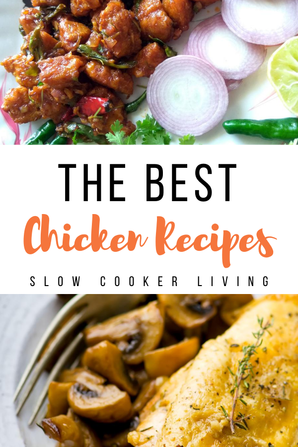 Another pin showing more chicken recipes made in the Slow Cooker with title in the middle.