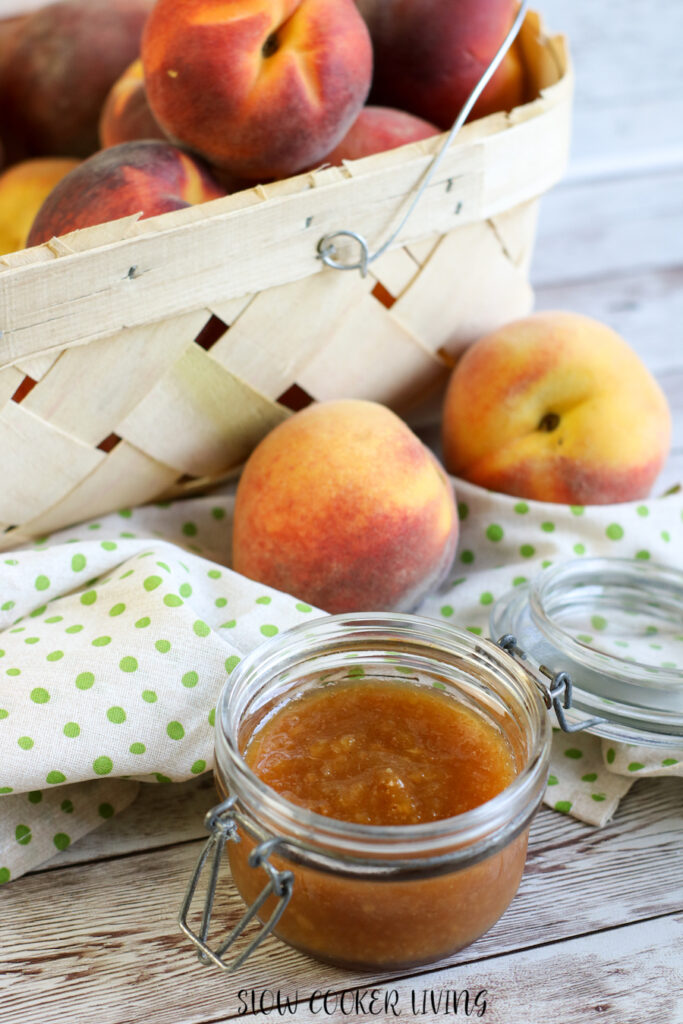 A jar full of the finished peach butter ready to be shared or enjoyed.