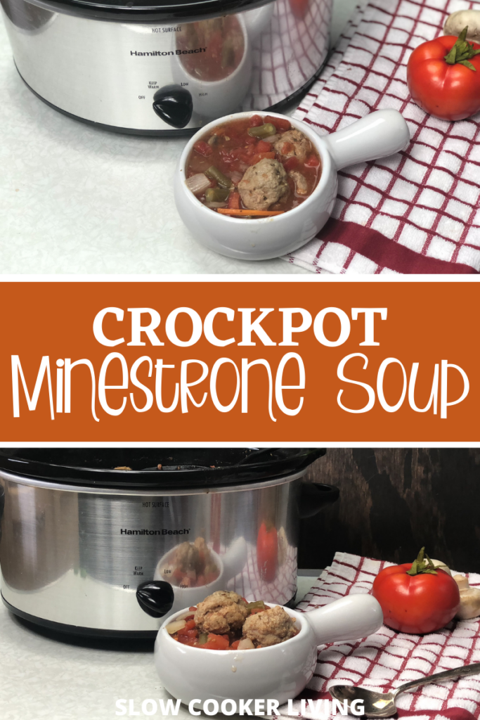 Pin showing the finished crockpot minestrone soup with title across the middle.