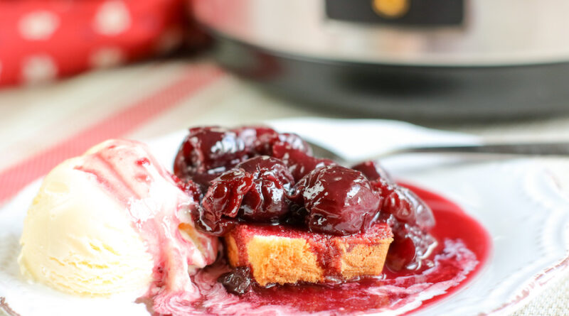 Featured image showing the finished slow cooker recipe for cherries jubilee.
