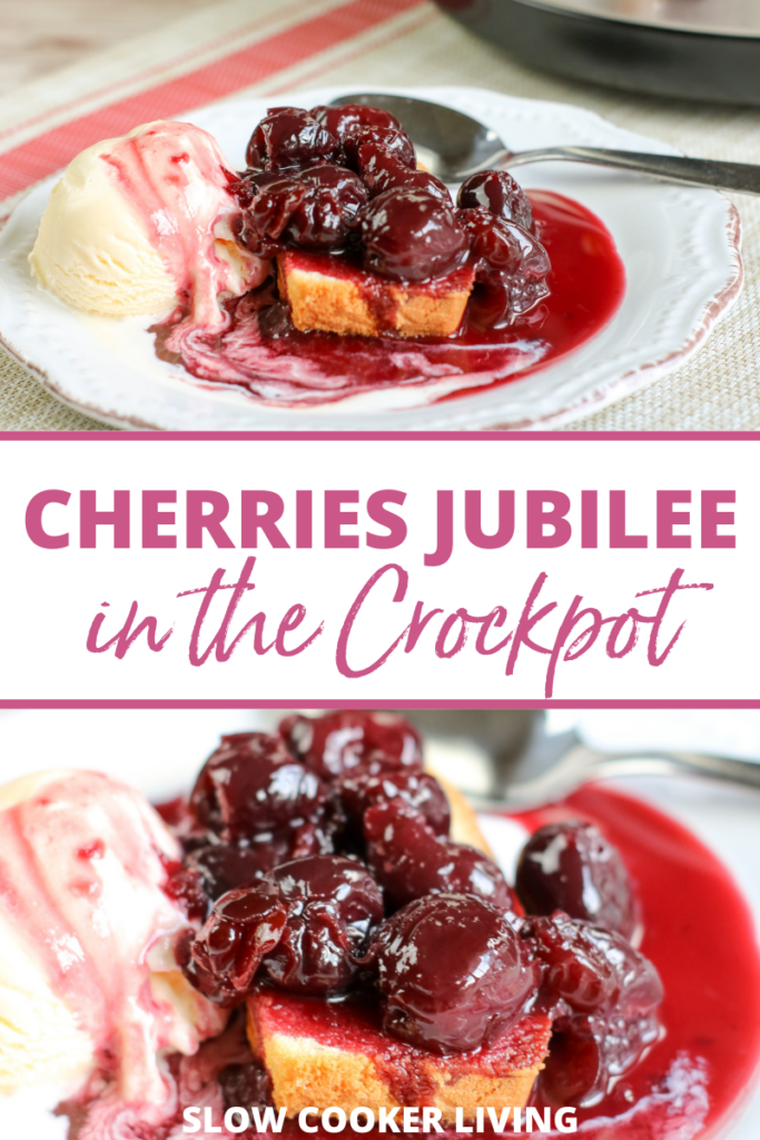 Another pin showing the finished recipe for the cherries jubilee made in the crockpot.