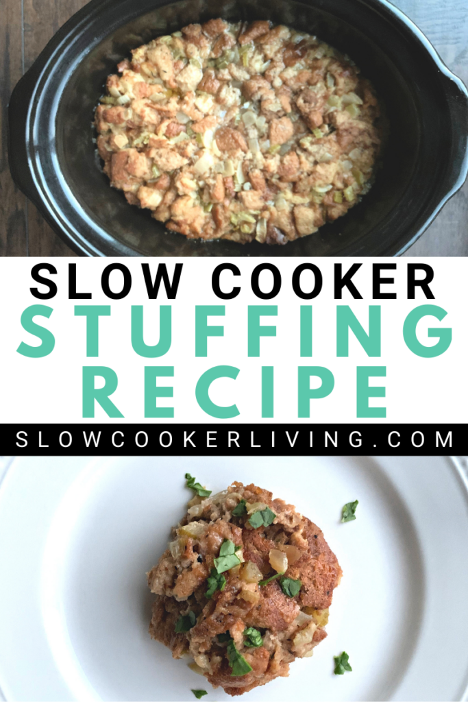 Pin showing the slow cooker stuffing recipe with title across the middle.