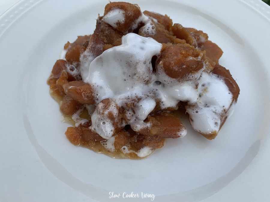 Featured image showing the finished crockpot sweet potato casserole ready to serve.