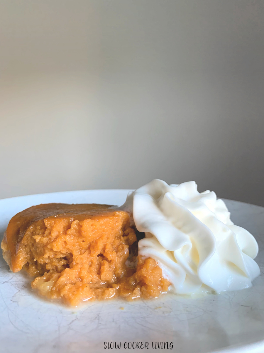 Finished pumpkin pudding recipe with whipped cream ready to eat.