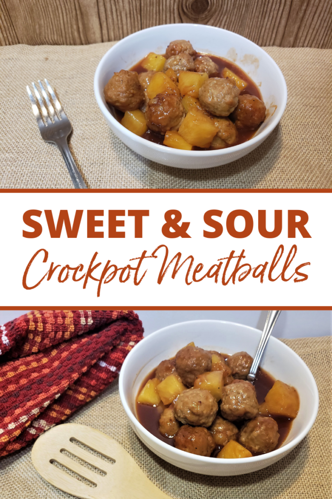 Pin showing the finished sweet and sour meatballs with title across the middle.