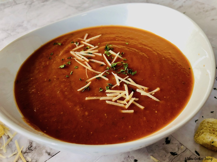 A bowl with the finished soup recipe topped ready to eat.