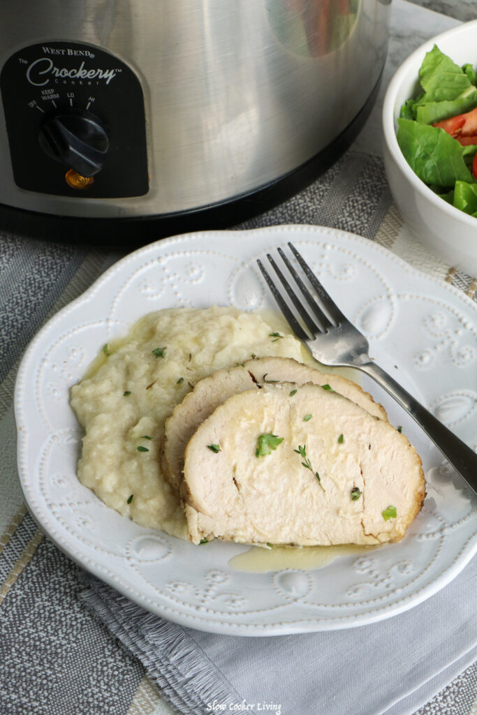 A plate of the finished turkey breasts ready to be served.