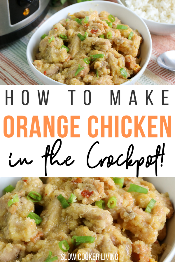 Pin showing the finished orange chicken in crockpot ready to serve with title across the middle.