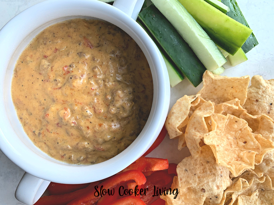 featured image showing the finished slow cooker cheese dip recipe ready to serve.