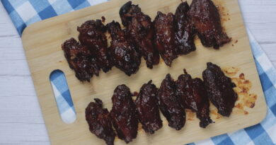 Featured image showing the finished wings coated in sauce laying on a cutting board ready to serve.
