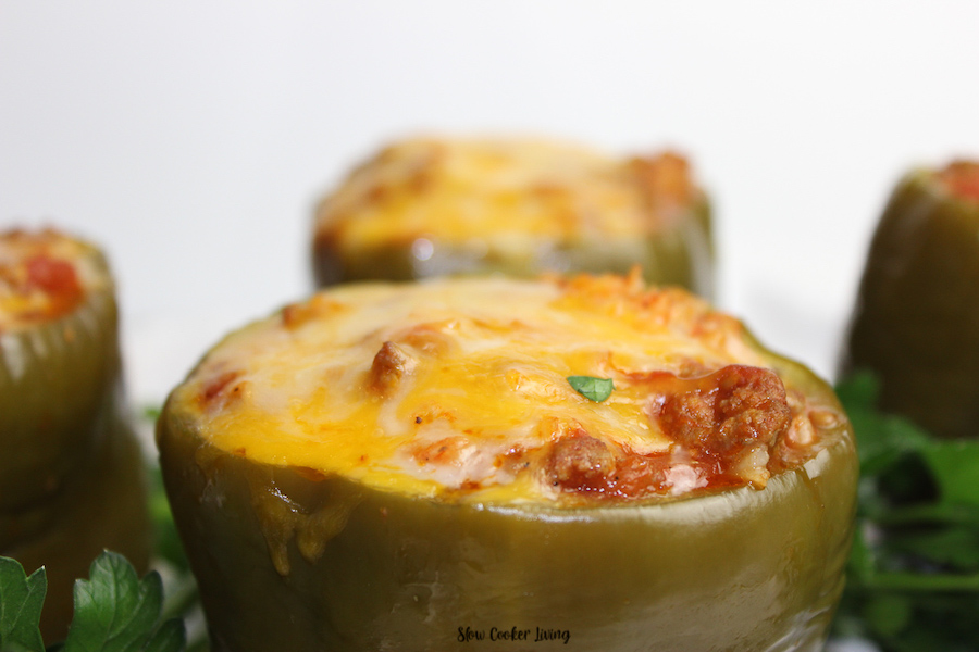 A close up of the finished slow cooker stuffed peppers ready to eat.