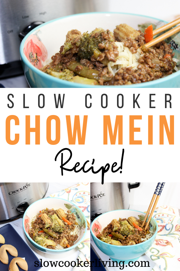 Pin showing the finished crock pot chow mein with title across the middle and photos top and bottom.