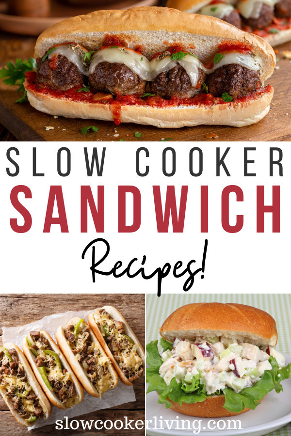 Pin showing the finished slow cooker sandwich recipes and title across the middle.