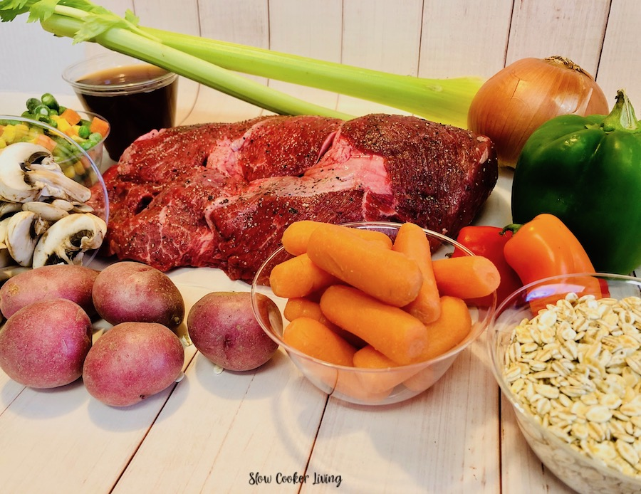 Here we see the ingredients ready to be used for beef barley soup.