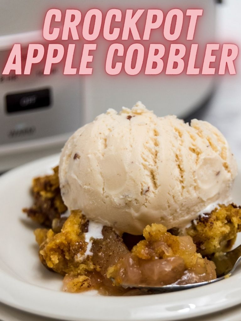 Pin showing the finished apple cobbler made in the slow cooker ready to eat with title across the top.