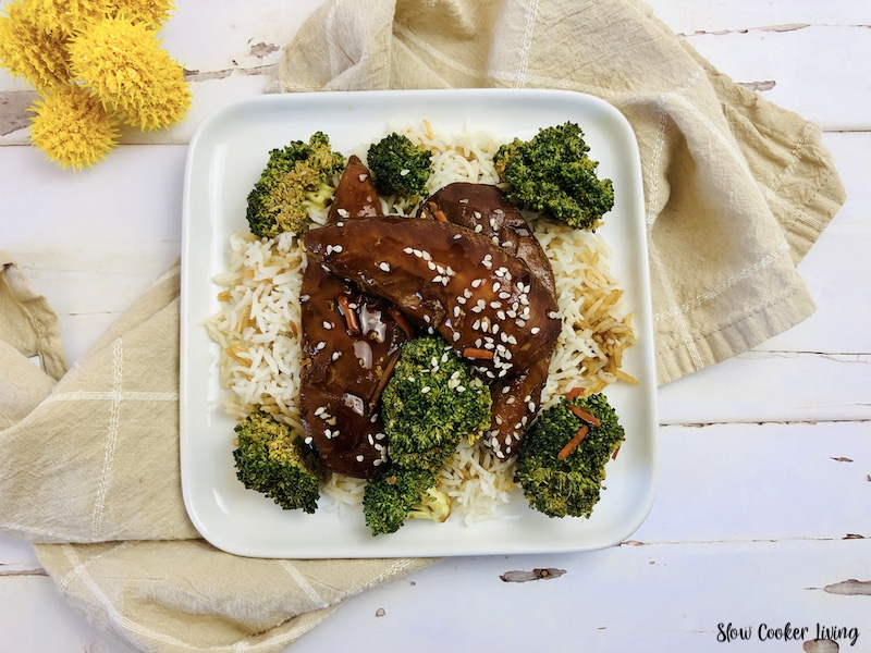 A delicious serving of the chicken teriyaki.
