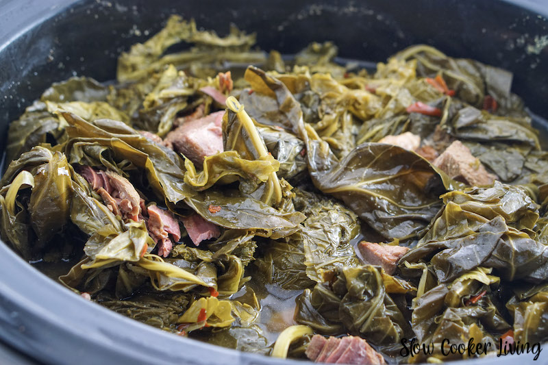 here we see the meat added back to the collard greens.