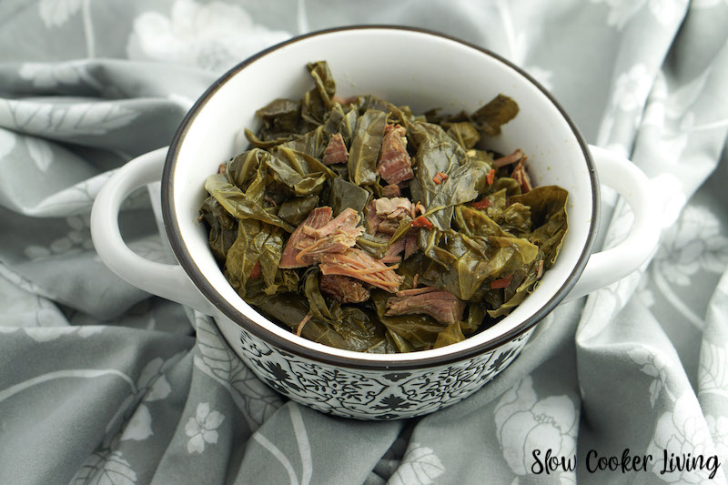 A serving of collard greens ready to eat.