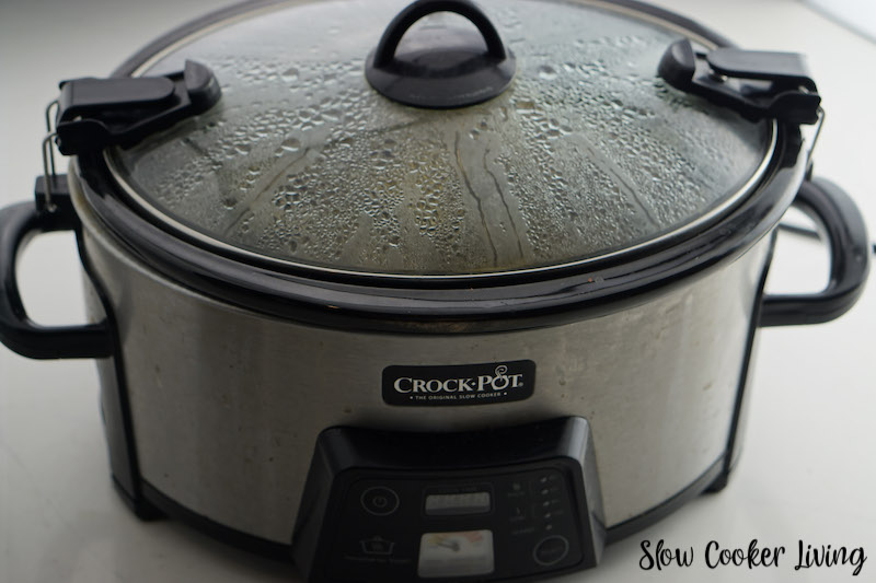 Crockpot covered and cooking.